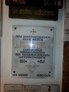 Gedenktafel an Alexander Löhr in der Stiftskirche, Stand 25.9.2014